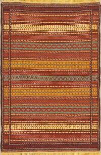 Striped Kilim Turkish Area Rug 4x5