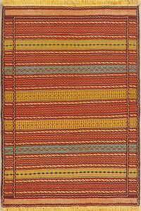 Flat-Woven Striped Kilim Turkish Area Rug 3x5