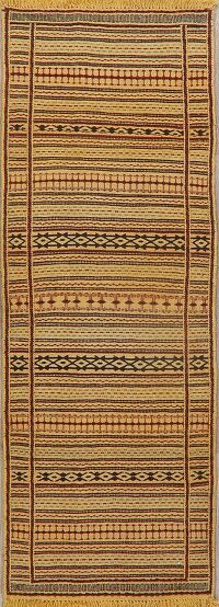 Flat-woven Turkish Kilim Runner Rug Wool 2x6