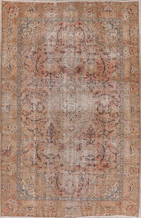 Distressed Floral Tabriz Persian Area Rug 6x10