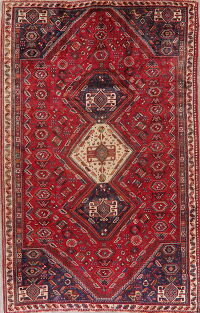 Vintage Tribal Geometric Shiraz Persian Area Rug 6x9
