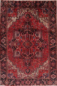 Geometric Red Heriz Persian Area Rug 7x11