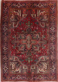 Geometric Red Heriz Persian Area Rug 7x10