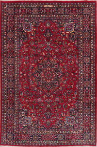 Vintage Floral Red Signed Mashad Persian Area Rug 7x10