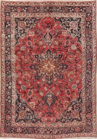 Vintage Floral Red Mashad Persian Area Rug 7x10