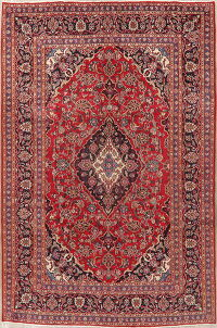 Vintage Floral Red Mashad Persian Area Rug 6x10