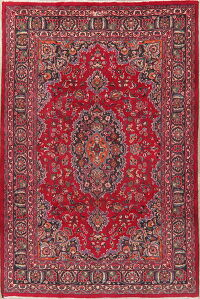 Floral Red Mashad Persian Area Rug 6x10