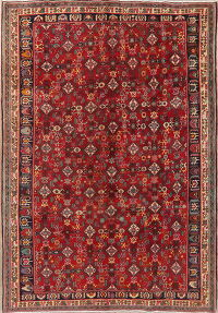 Vintage All-Over Red Kashkoli Persian Area Rug 7x10