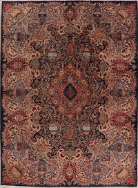 Vintage Navy Blue Pictorial Kashmar Persian Area Rug 8x11
