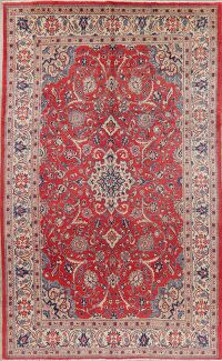 Vintage Floral Red Sarouk Persian Area Rug 7x12