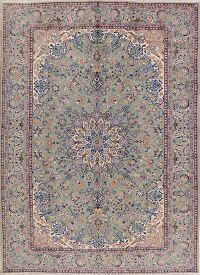 Vintage Green Floral Najafabad Persian Area Rug 8x11