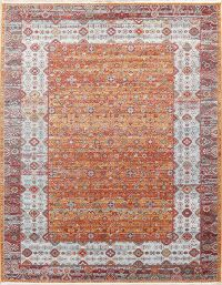 Multi-Colored Distressed Geometric Turkish Oriental Rugs