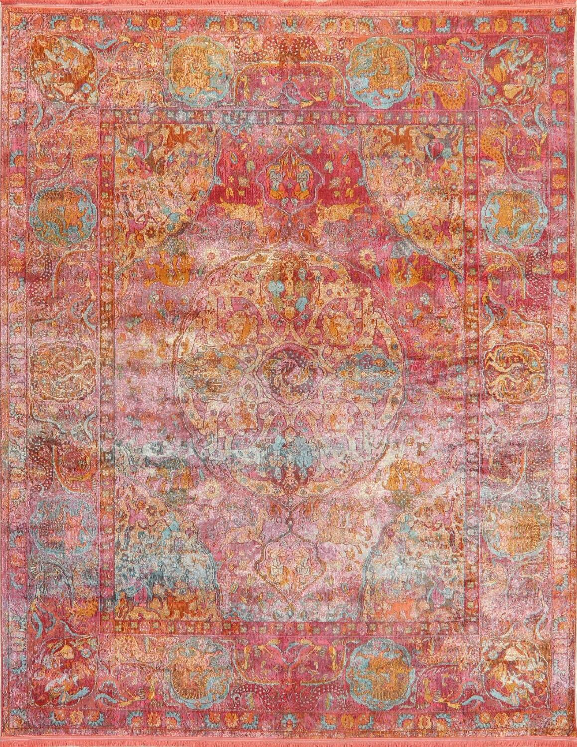 Hunting Design Pictorial Distressed Heat-Set Area Rugs image 1