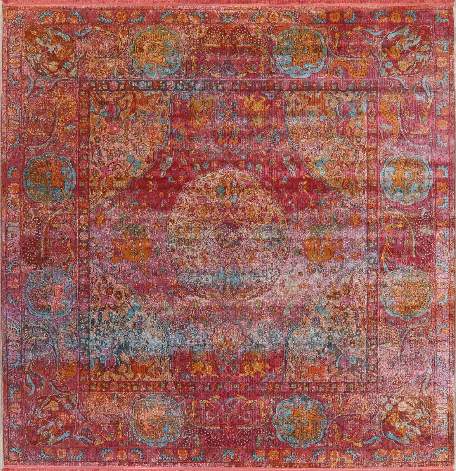 Hunting Design Pictorial Distressed Heat-Set Area Rugs image 25