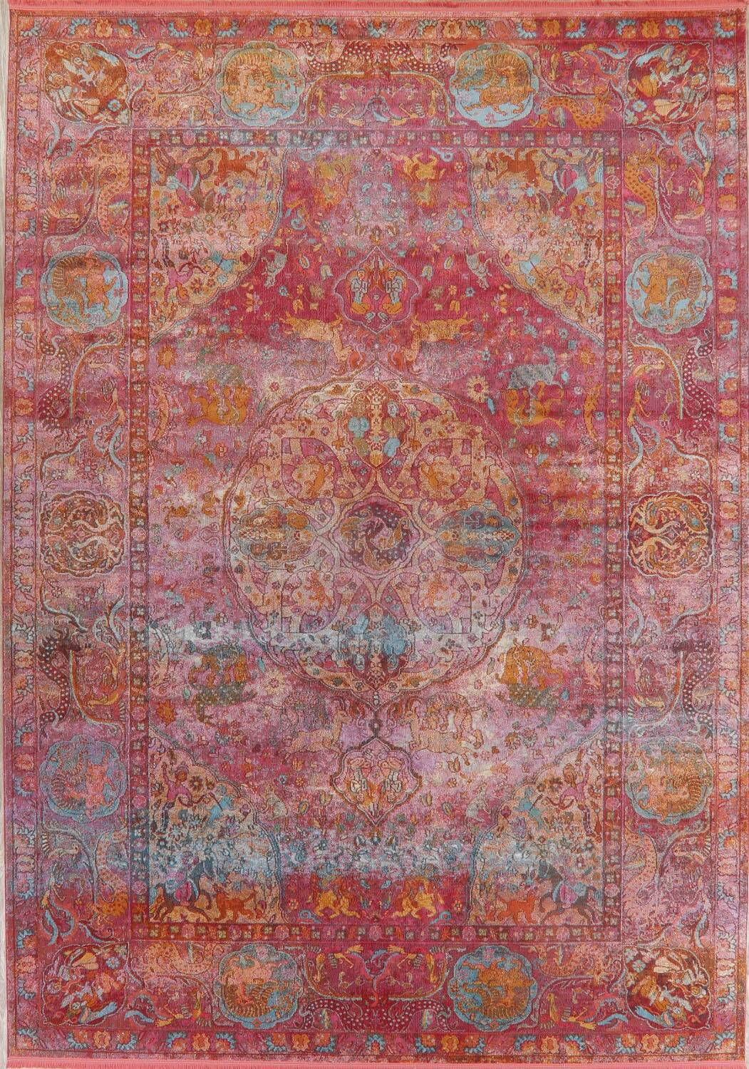 Hunting Design Pictorial Distressed Heat-Set Area Rugs image 26