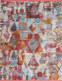 Vintage Style Abstract Distressed Heat-Set Area Rugs