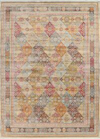 Vintage Garden Design Distressed Heat-Set Area Rugs