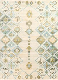 Vintage Style Geometric Distressed Heat-Set Area Rugs