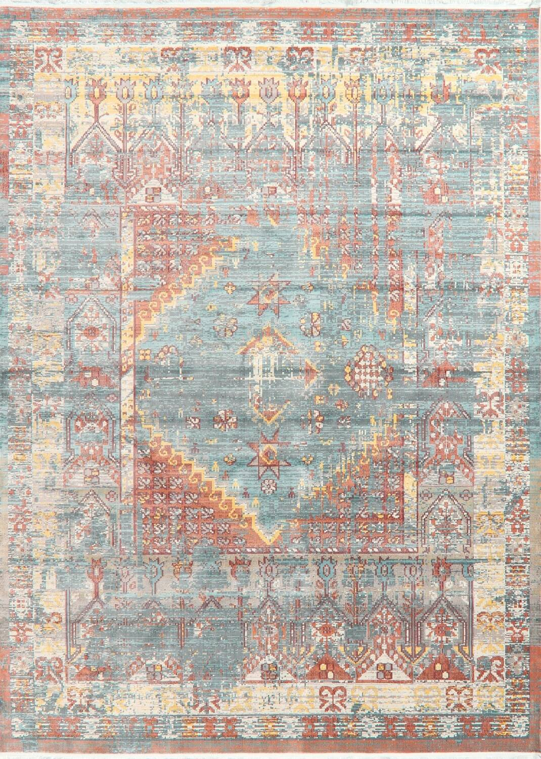 Vintage Style Distressed Heat-Set Area Rugs image 1