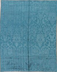 100% Silk Teal Green Oriental Art & Craft Area Rug 8x10