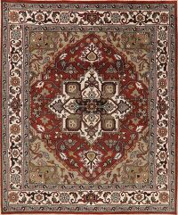 Geometric Rust Heriz Indian Oriental Area Rug 8x10
