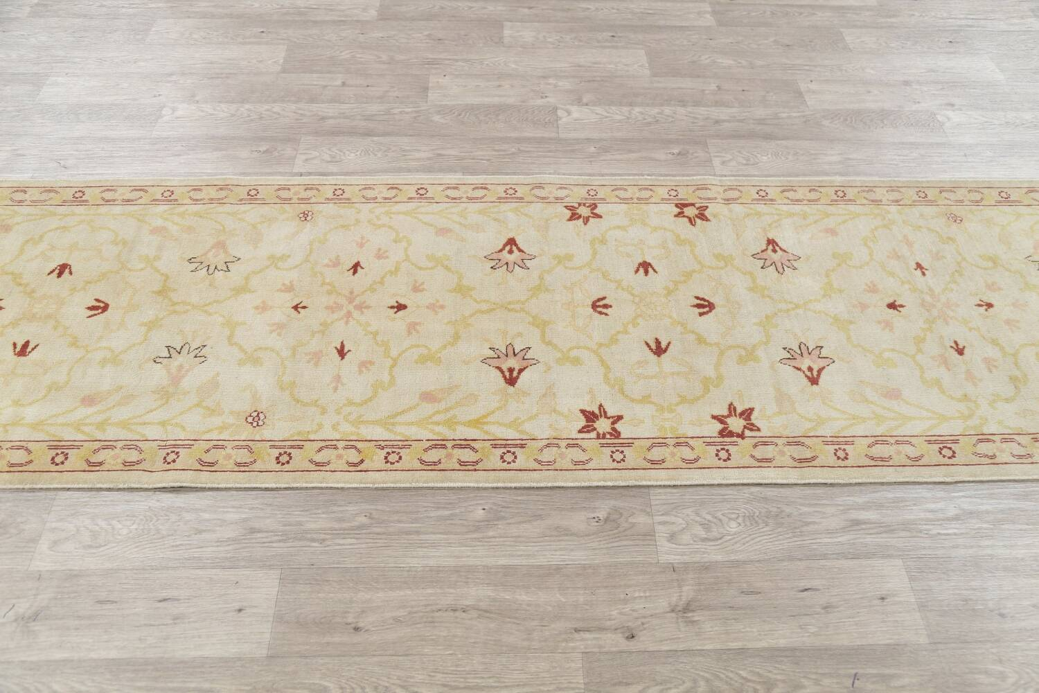 Vegetable Dye Beige Oushak Egyptian Runner Rug 3x11 image 15
