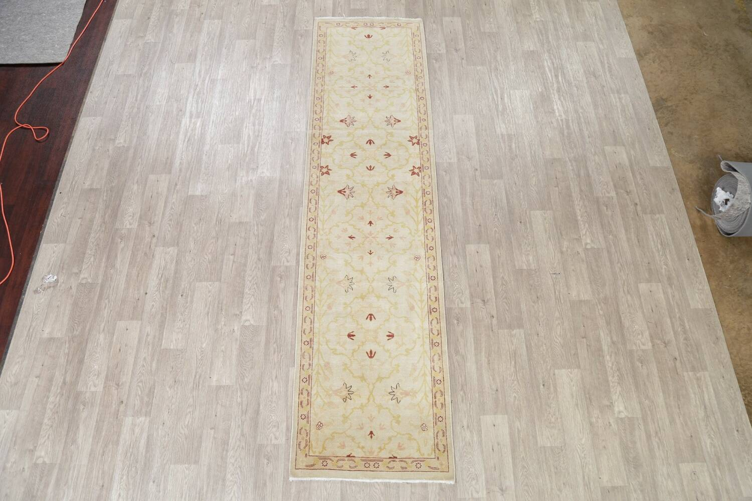 Vegetable Dye Beige Oushak Egyptian Runner Rug 3x11 image 2