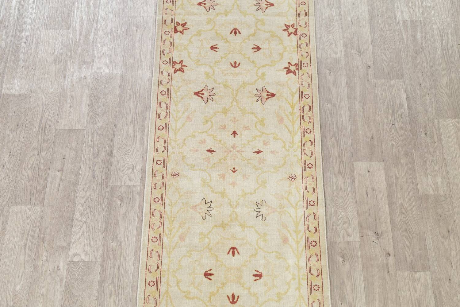 Vegetable Dye Beige Oushak Egyptian Runner Rug 3x11 image 3