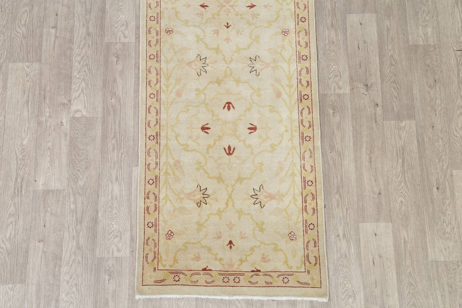 Vegetable Dye Beige Oushak Egyptian Runner Rug 3x11 image 8