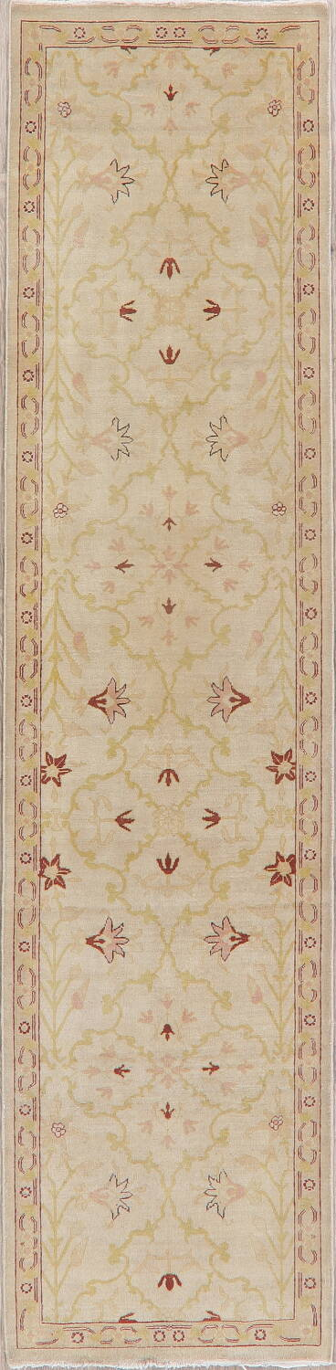Vegetable Dye Beige Oushak Egyptian Runner Rug 3x11 image 1