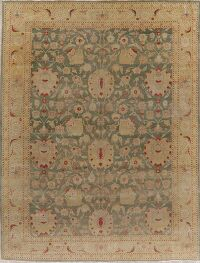 Vegetable Dye Green Oushak Turkish Area Rug 10x13