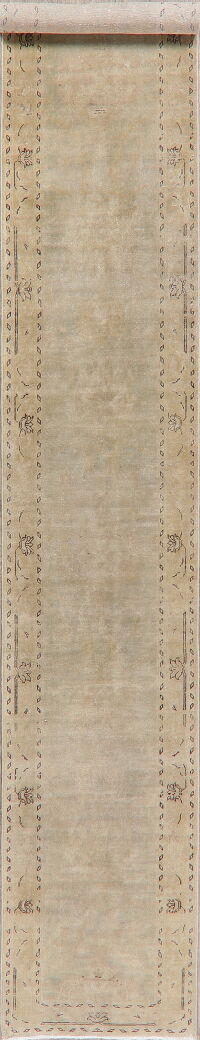 Distressed Muted Green Oushak Oriental Runner Rug 2x13