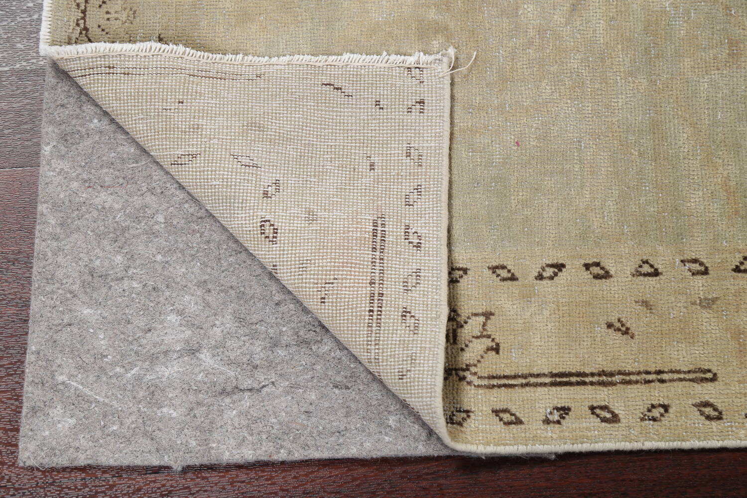 Distressed Muted Green Oushak Oriental Runner Rug 2x13 image 7