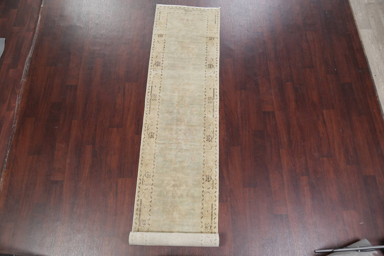 Distressed Muted Green Oushak Oriental Runner Rug 2x13 image 2
