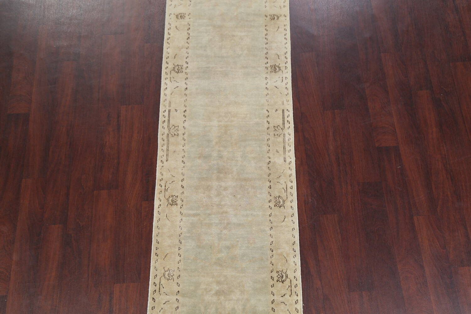 Distressed Muted Green Oushak Oriental Runner Rug 2x13 image 3
