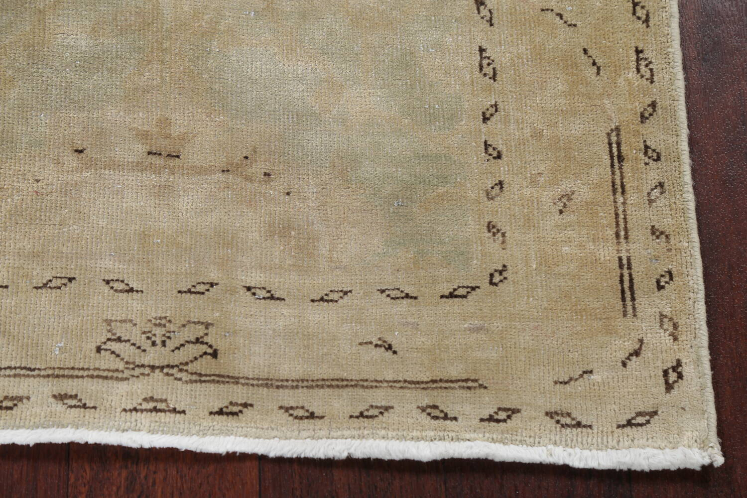 Distressed Muted Green Oushak Oriental Runner Rug 2x13 image 5