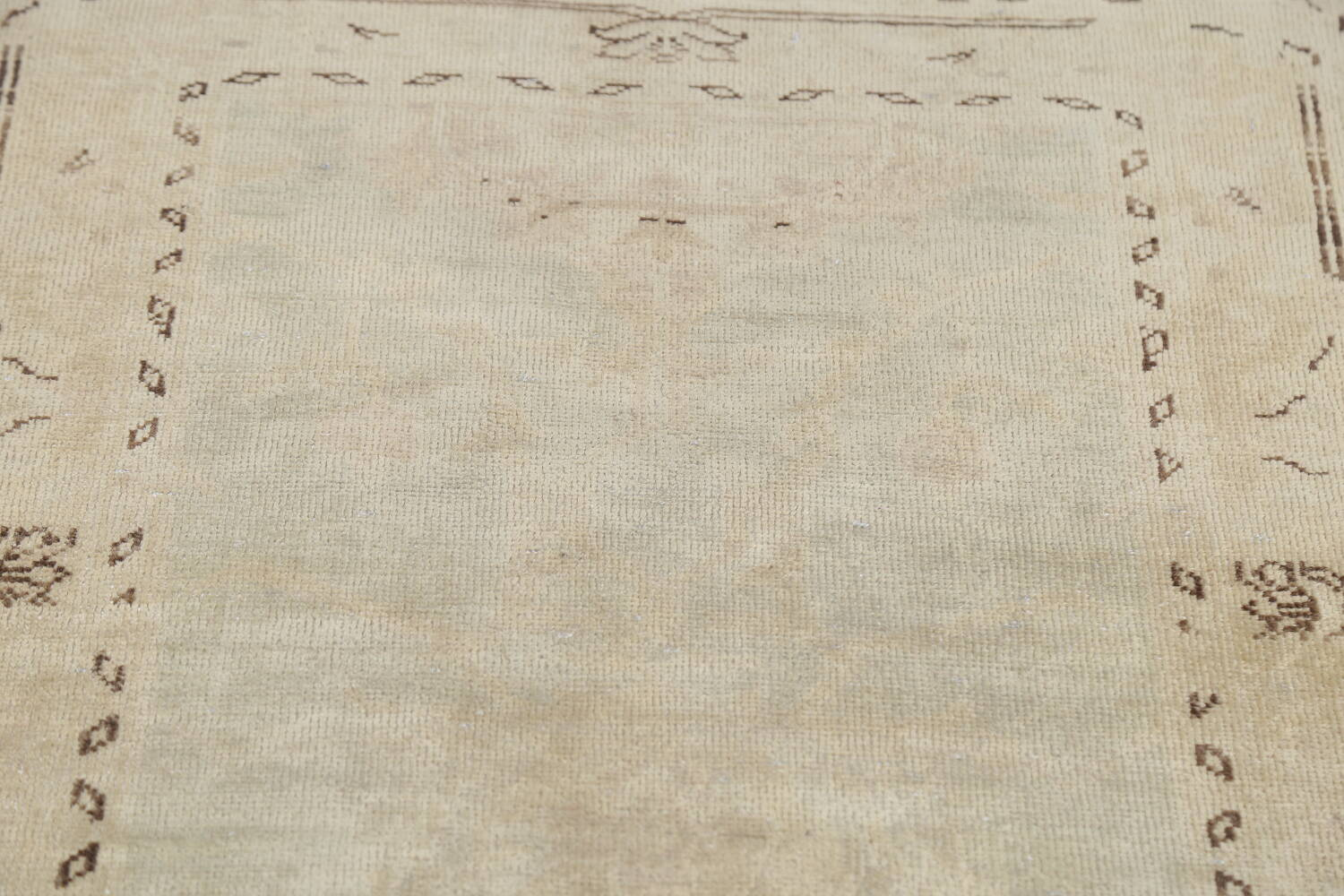 Distressed Muted Green Oushak Oriental Runner Rug 2x13 image 11