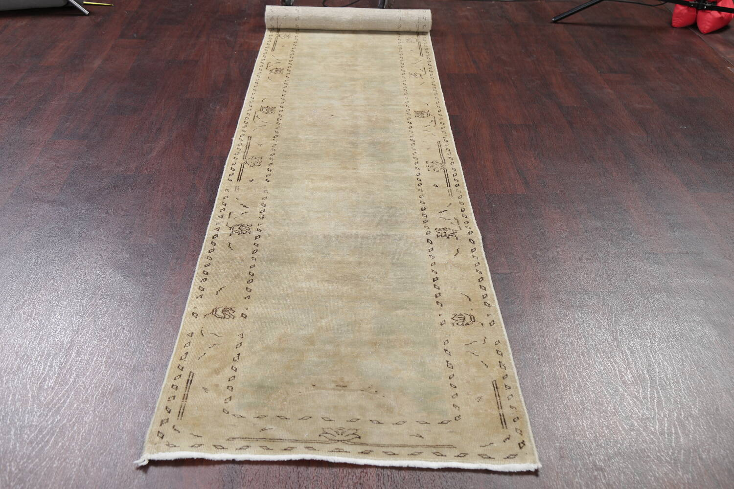 Distressed Muted Green Oushak Oriental Runner Rug 2x13 image 14