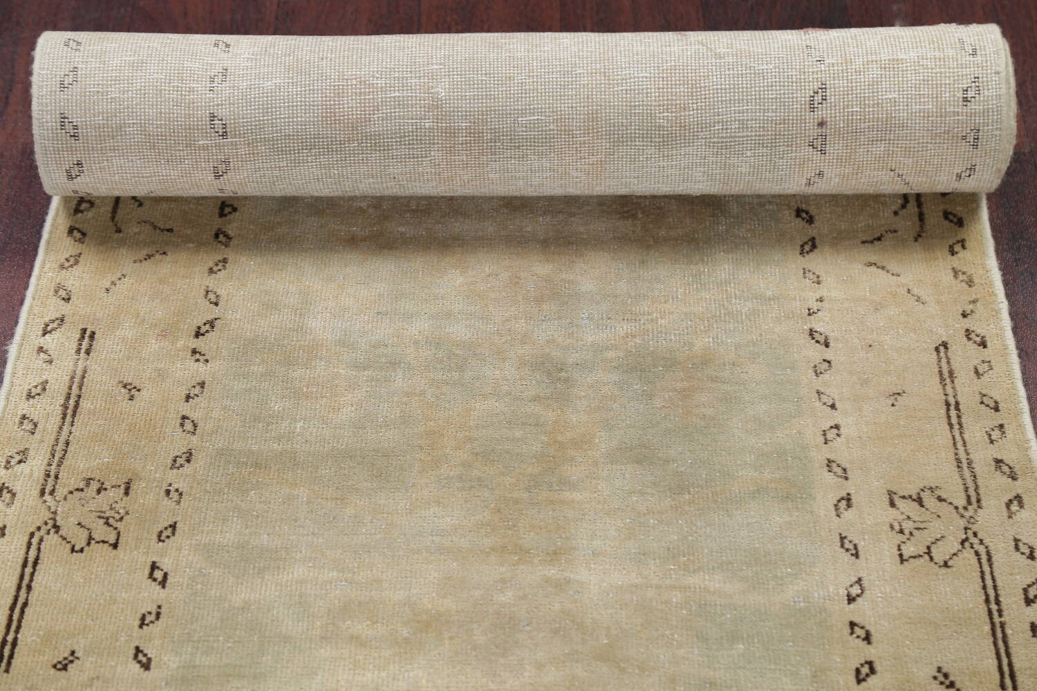Distressed Muted Green Oushak Oriental Runner Rug 2x13 image 17