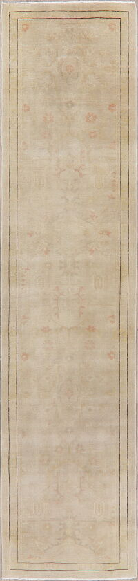 Muted Distressed Green Oushak Egyptian Runner Rug 3x12