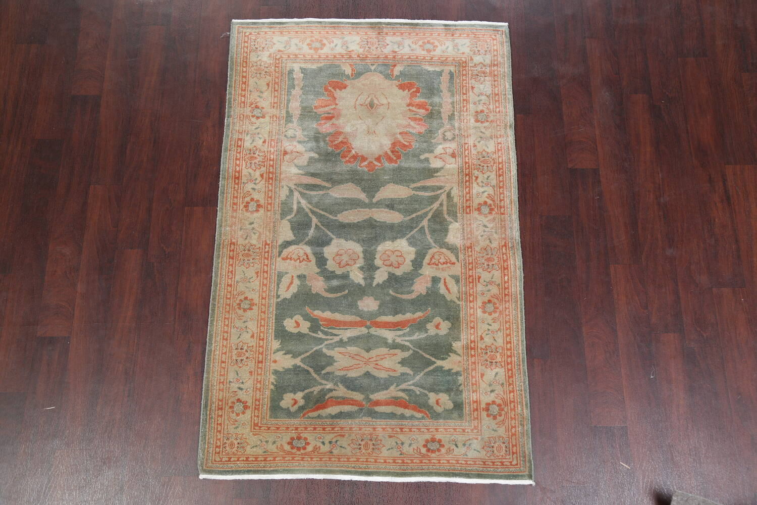 Floral Green Oushak Egyptian Area Rug 4x6 image 2