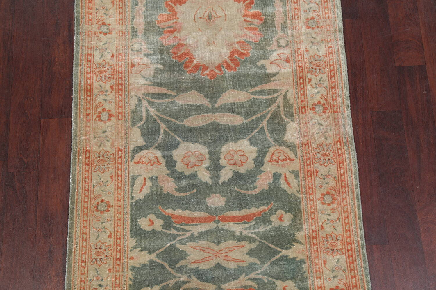 Floral Green Oushak Egyptian Area Rug 4x6 image 3