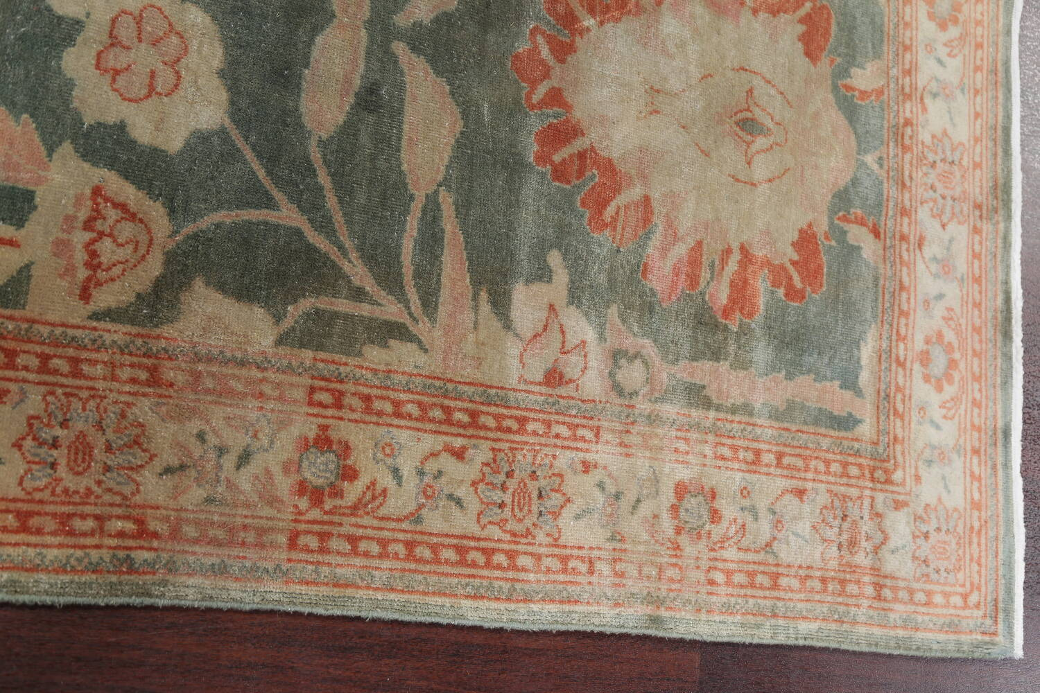 Floral Green Oushak Egyptian Area Rug 4x6 image 14