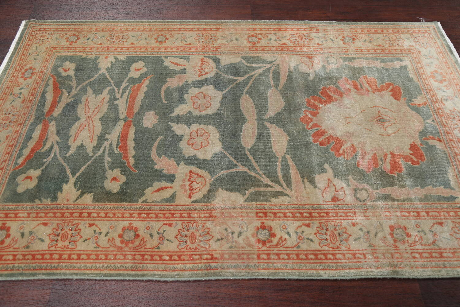 Floral Green Oushak Egyptian Area Rug 4x6 image 15