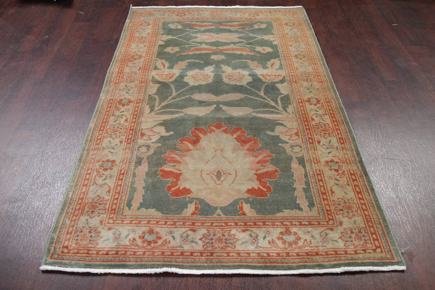 Floral Green Oushak Egyptian Area Rug 4x6 image 16