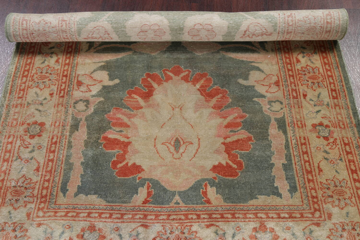 Floral Green Oushak Egyptian Area Rug 4x6 image 18