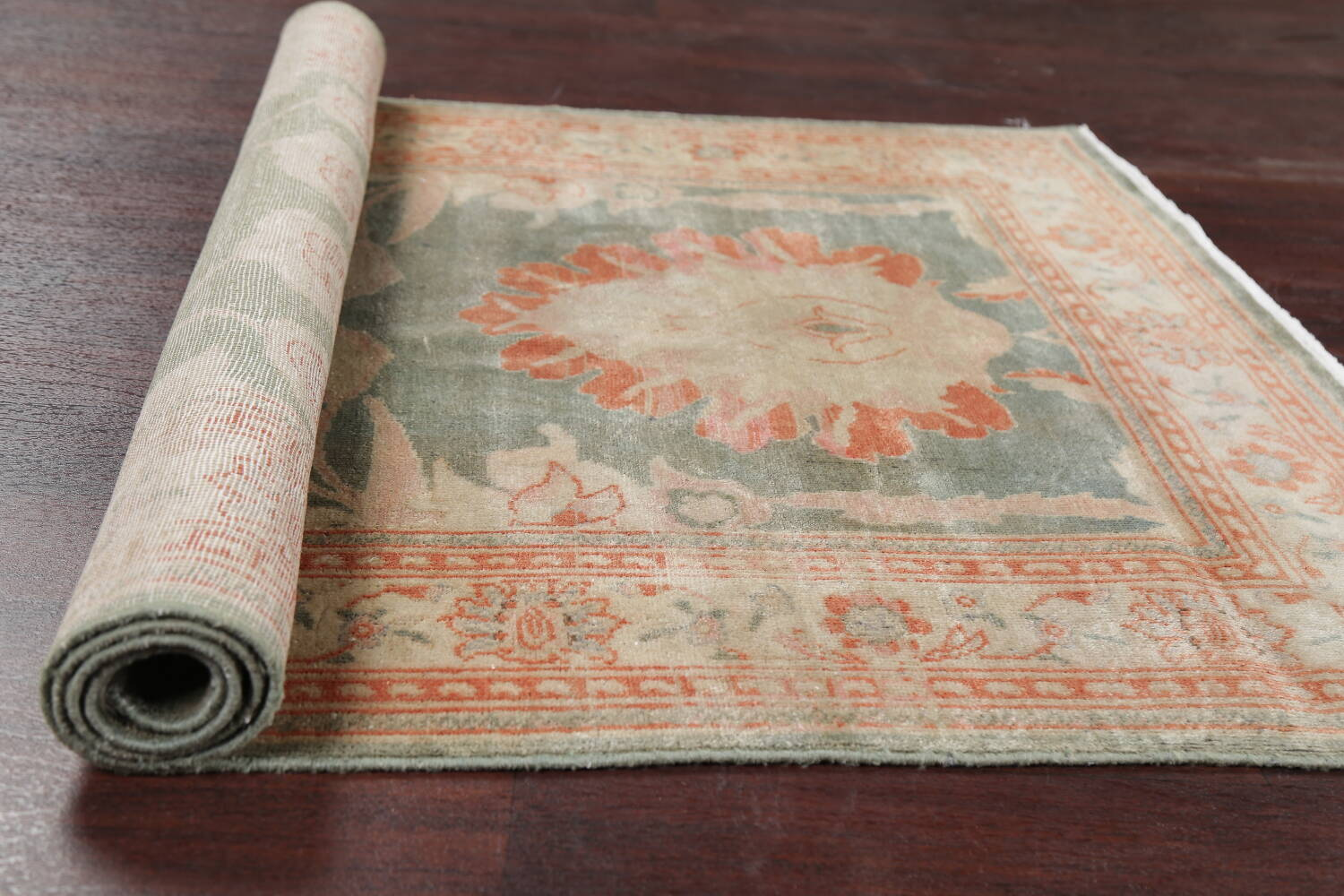 Floral Green Oushak Egyptian Area Rug 4x6 image 19