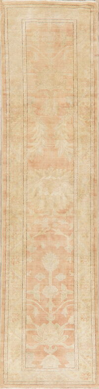 Muted Floral Oushak Egyptian Runner Rug 3x12