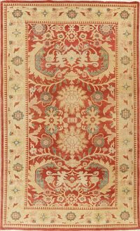 Floral Red Oushak Egyptian Area Rug 6x9
