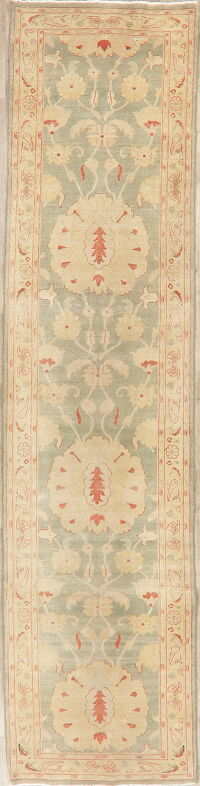 Muted Green Floral Oushak Egyptian Runner Rug 2x12